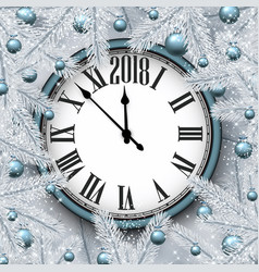 white new year card with clock vector image