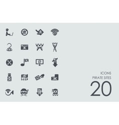 Set of pirate sites icons vector