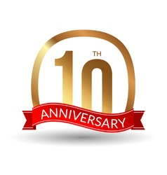 10 years anniversary experience gold label with vector