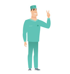 Caucasian doctor showing the victory gesture vector