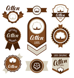 Cotton badges banners and emblems clothing vector