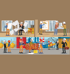 Building people horizontal banners vector