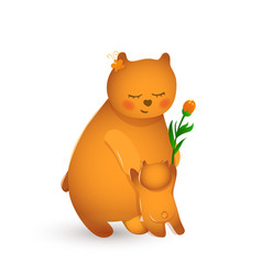 bear mother with her cub vector image