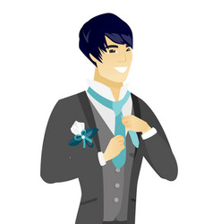Young asian cheerful groom adjusting tie vector