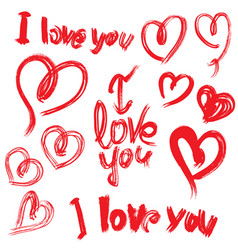 set of brush strokes and scribbles in heart shapes vector image
