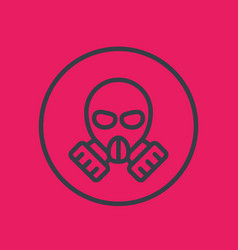 Gas mask line icon in circle vector