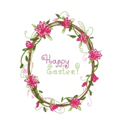 Happy easter floral frame for your design vector