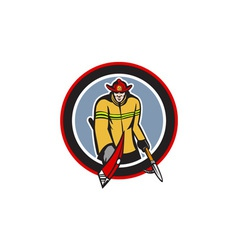 Fireman carry axe hook pike pole circle vector