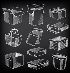 Package and boxes sketch design vector
