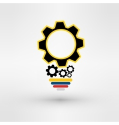 Light bulb with gears and cogs working together vector
