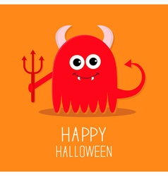 Cute red evil monster with horns fangs and trident vector