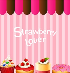 Different kind of dessert strawberry flavor vector