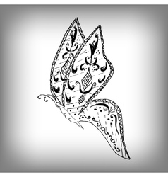 Magic butterfly style zentangle freehand drawing vector