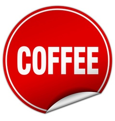 Coffee round red sticker isolated on white vector
