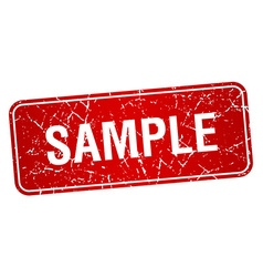 Sample red square grunge textured isolated stamp vector