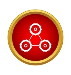 Cogwheels connection icon in simple style vector