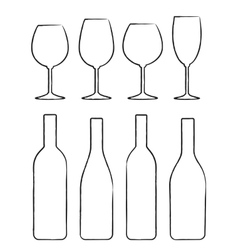 Linear set of wine bottle and glasses vector