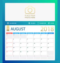 august 2018 calendar or desk vector image