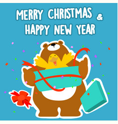 Bear and duck merry christmas and happy new year vector