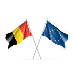 Belgium and european union waving flags vector