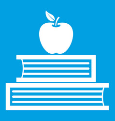 Books and apple icon white vector