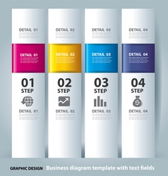 Business step paper chart and numbers banner vector