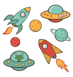 Colorful outer space stickers collection vector image vector image