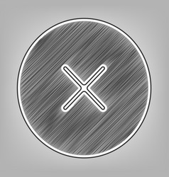 Cross sign pencil sketch vector
