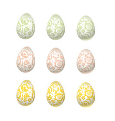Easter egg pale color luxury decoration floral vector