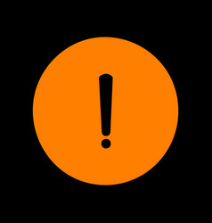 Exclamation mark sign orange icon on black vector