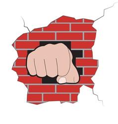Fist burst through brick wall vector