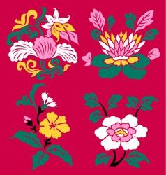 floral emblem set vector image vector image