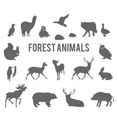 Forest animals silhouettes set vector