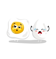 Funny whole and fried egg cartoon character vector image vector image