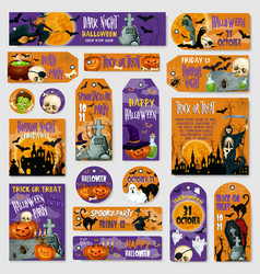 Halloween holiday spooky party tag label design vector