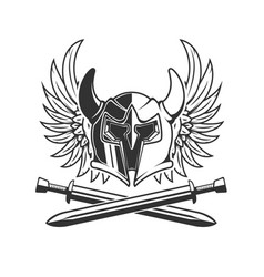 horned helmet with crossed swords and wings vector image