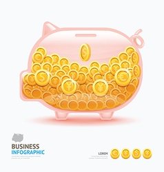 Infographic business currency money coins piggy ba vector