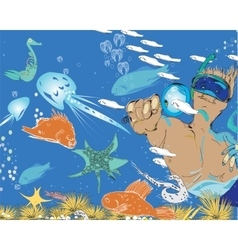 Man and snorkeling vector