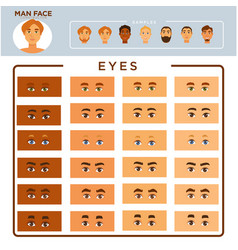 man face constructor with samples and eyes set vector image vector image