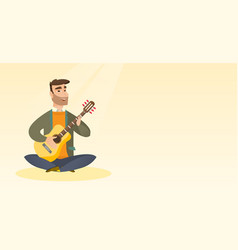 man playing the acoustic guitar vector image vector image