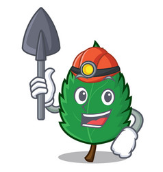Miner mint leaves mascot cartoon vector