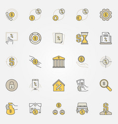 Money and leasing colorful icons vector