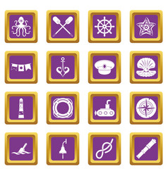 nautical icons set purple vector image