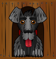 the dog in the booth the wooden box and a black vector image vector image