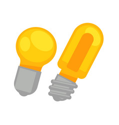 two yellow round and long lamp bulbs isolated on vector image