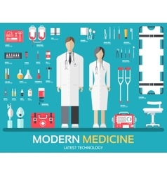 Visit to the doctor medicine supplies equipment vector