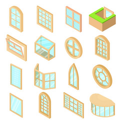 Window forms icons set isometric style vector