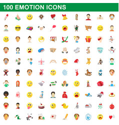 100 emotion icons set cartoon style vector image vector image