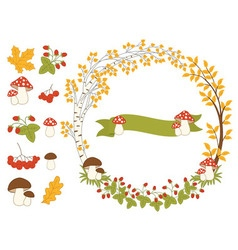 Autumn forest set vector
