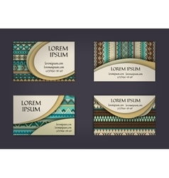 Business card or visiting card template with boho vector